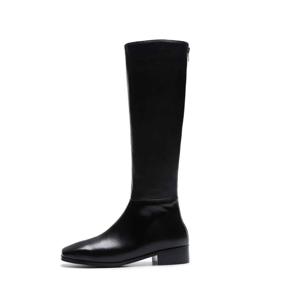 genuine leather big size thick handsome long boots med heel square toe women keep warm riding knee-high boots L0f8 3