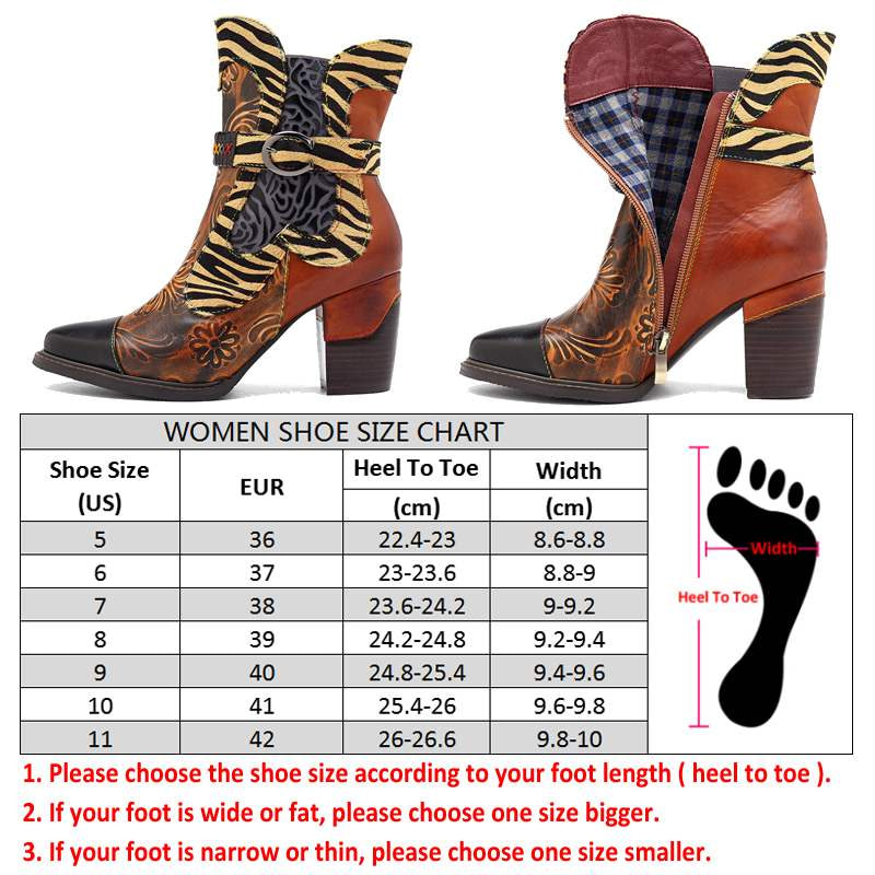 Retro Printed Cowgirl Ankle Boots Women Winter Patchwork Horsehair Genuine Leather Women Boots Shoes Woman Zipper Booties 2