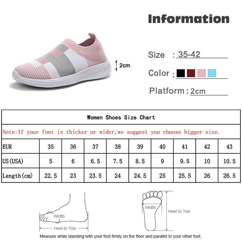 Women Flat Sneakers Knitted Loafers Vulcanized Shoes Woman Female Stretch Slip On Ladies Walking Casual Plus Size Plus Size 5