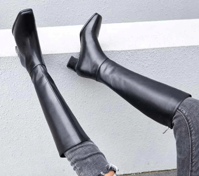 genuine leather big size thick handsome long boots med heel square toe women keep warm riding knee-high boots L0f8