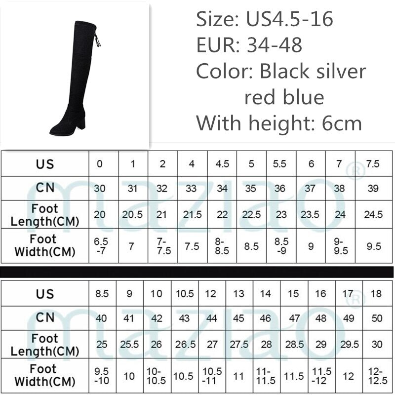Women Boots Square High Heel Over The Knee Boots Bling Stretch Flock Thigh Boots Autumn Winter Fashion Stretch Knee High Boots 5