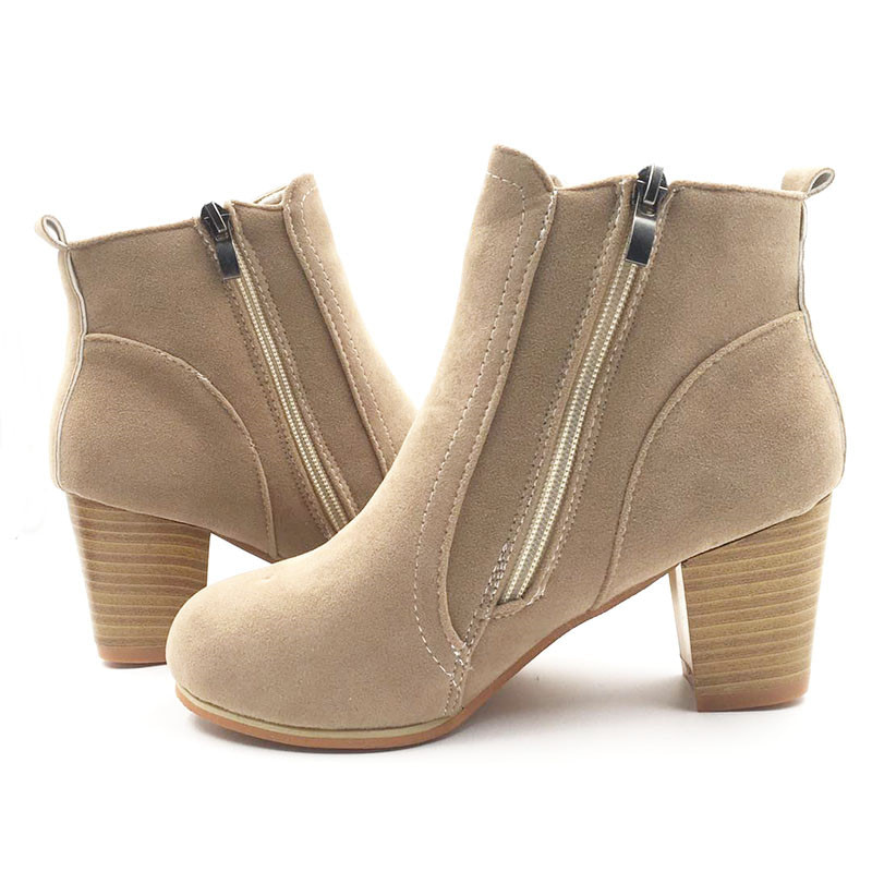 Classical New Side Zip Ankle Women Boots Street Outdoor Style Girl 6.5cm High Heel Boots Fashion Women Shoes