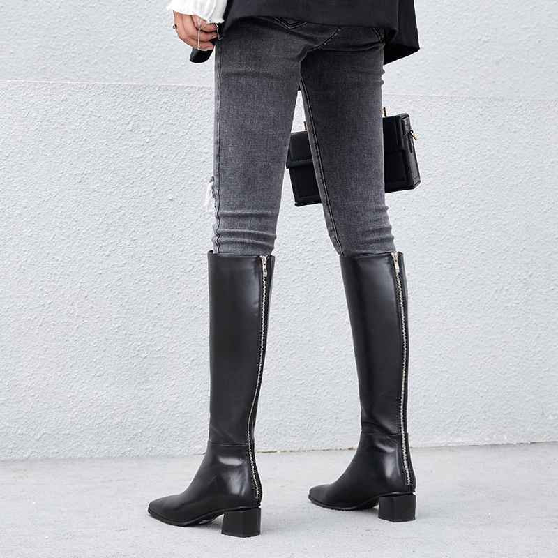 genuine leather big size thick handsome long boots med heel square toe women keep warm riding knee-high boots L0f8 4